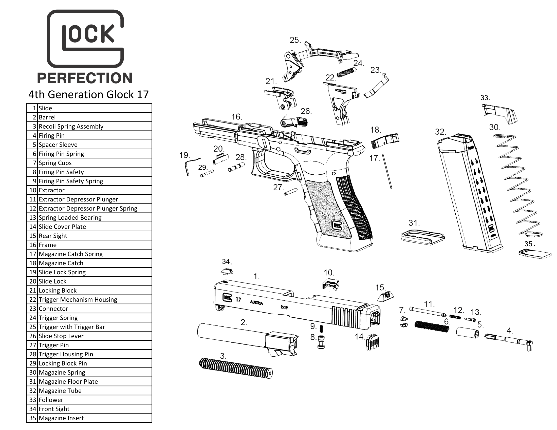 glock 17 4th generation exploded view